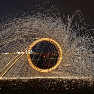Burning steel wool wheels