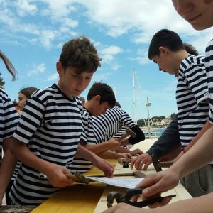 Children's boat building and sailing